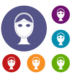 Face marked out for cosmetic surgery icons set vector
