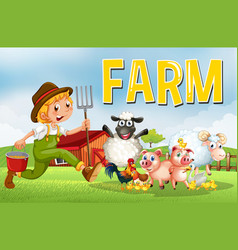 Farm scene with farmer and animals vector