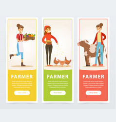 Farmers with farm vegetables and rural cow and vector