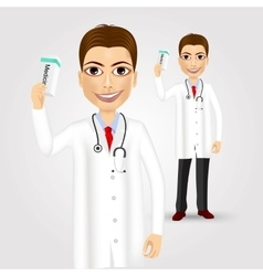 Friendly doctor holding medicine packet vector