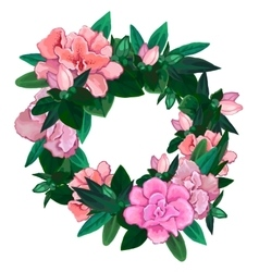 Gentle azalea wreath vector
