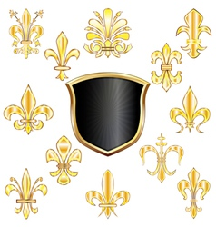 Golden Fleur de lis set small vector image vector image