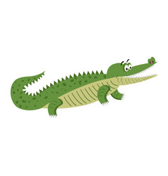 Green cartoon crocodile in natural pose isolated vector