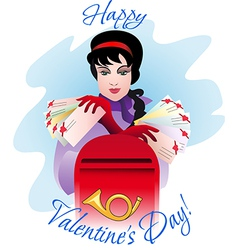 Greeting card with girl and mailbox vector image