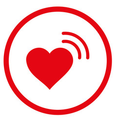 heart radio signal rounded icon vector image