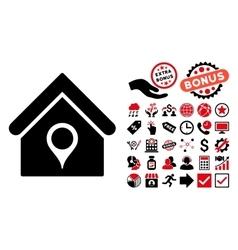 House location flat icon with bonus vector