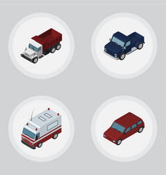 isometric car set of car first-aid freight and vector image vector image