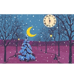 Magic christmas night in a park vector