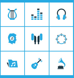 Music colored icons set collection of gramophone vector