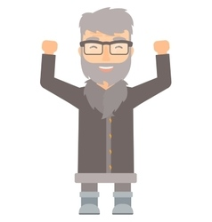 North man standing with raised arms up vector