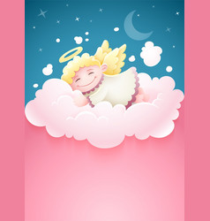 Pretty angel baby sleeping vector