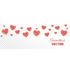 Red hearts frame seamless border glitter vector