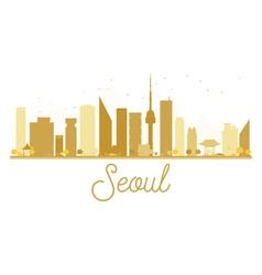 Seoul city skyline golden silhouette vector