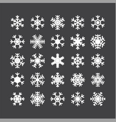 Set of different snowflakes isolated on white vector