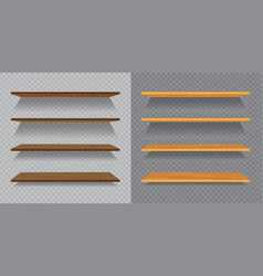 set of empty wooden or plastic shelves isolated on vector image vector image