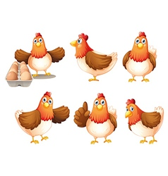 Six fat hens vector image