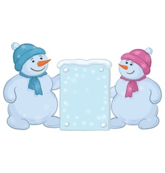 snowmen boys with sign vector image vector image