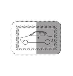 Sticker contour frame of automobile icon vector