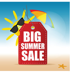 Tag summer sale with sun and sea star vector