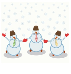 Three cheerful snowmen vector