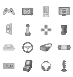 Video game icons set black monochrome style vector image