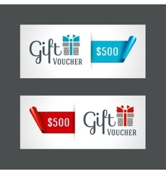 Voucher template with gift box and bow vector