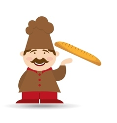 French baguette baker vector