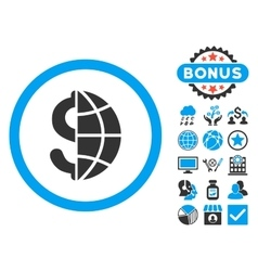 Global business flat icon with bonus vector