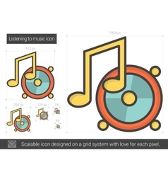 Listening to music line icon vector
