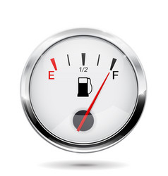 Fuel gauge with chrome frame full indication vector