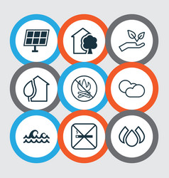 set of 9 ecology icons includes home sun power vector image