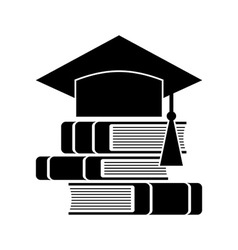Celebrating graduating hat and books vector