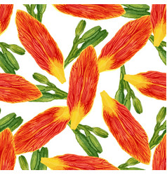 Seamless pattern with watercolor petals flowers vector