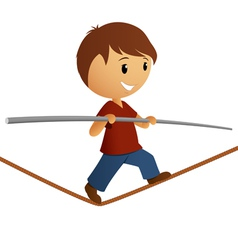 Boy in red shirt balance on the rope vector