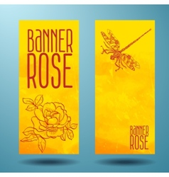Banners with rose and dragonfly in doodle vector