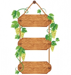 Wooden signboard with grape vector