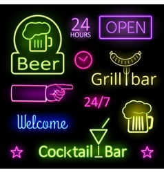 Glowing neon lights bar signs on black background vector