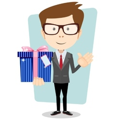 Young man holding a gift vector