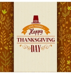 Thanksgiving typography greeting card on seamless vector