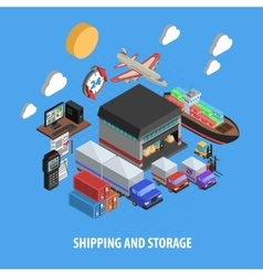 Shipping and storage isometric concept vector