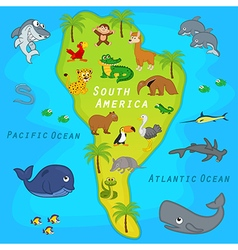 Map of south america with animals vector