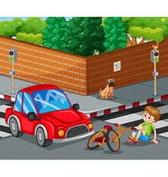 Scene with car crashing bicycle and boy getting vector