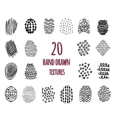 Set of 20 hand drawn textures vector
