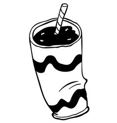 Black and white plastic cup vector