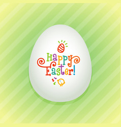 Big easter egg with a colorful hand drawn text vector