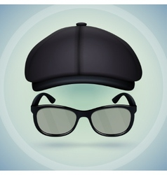 Black cap and eyeglasses vector image vector image