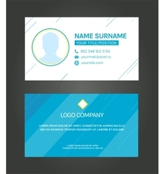 Business card template blue pattern design vector image
