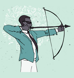 Businessman with bow and arrow archery business vector