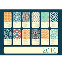 Calendar 12 months geometric vintage pattern vector