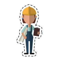 Cartoon architec woman plans clipboard vector